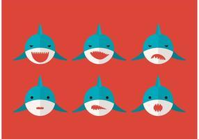 Grands visages de requins blancs vecteur