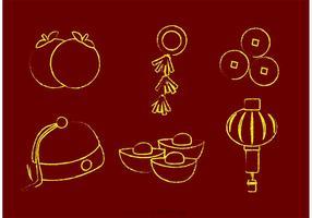 Vecteurs lunaires de nouvelle année chinois à la craie
