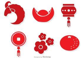 Vecteurs lunaires rouges du nouvel an chinois
