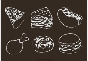 Vecteurs de nourriture dessinés à la craie vecteur