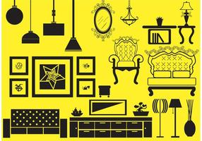 Vecteur de meubles anciens et modernes