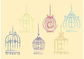 Cage d'oiseaux libre de vecteur Sketchy