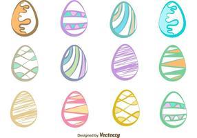 Des vecteurs d'oeufs de Pâques dessinés à la main vecteur