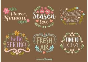 Couronnes de typographie de vecteur de printemps