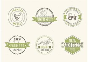 Étiquettes vectorielles gratuites du marché des agriculteurs
