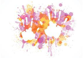 Free Child Handprint sur les éclaboussures colorées Vector