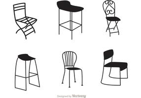 Vecteurs de chaises noires de restaurant