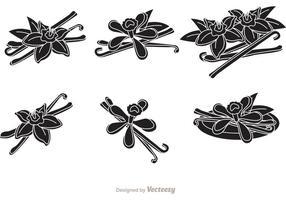 Vecteurs de silhouette de fleurs de vanille vecteur
