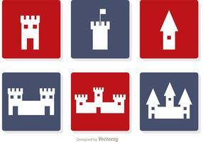 Vecteur d'icônes blanc de château