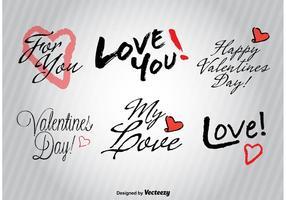 Signes d'amour dessinés à la main vecteur