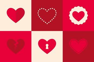 Icônes plates du coeur