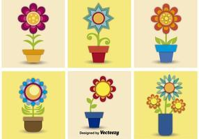 Pots de fleurs vectoriels vecteur