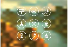 Ensemble gratuit d'icônes de camping vecteur