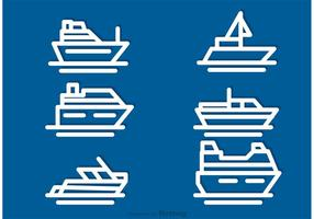 Vecteurs d'icônes de contour de navire vecteur