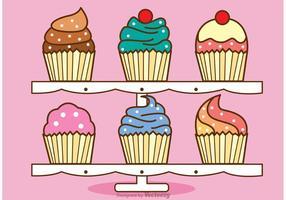 Cute Cupcake Stand Vector