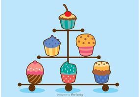Vecteur varié de cupcake