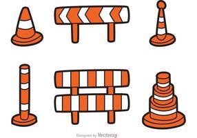 Vecteur d'icônes de dessin animé de circulation routière