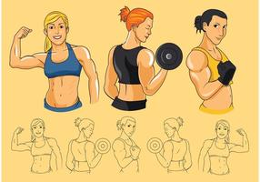 Femmes vecteurs de biceps vecteur