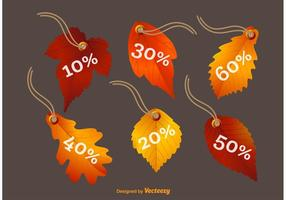 Étiquettes de feuilles d'automne étiquettes de prix vecteur