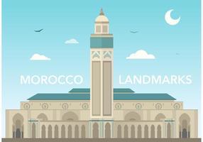 Marché libre de la mosquée du Maroc Hassan vecteur