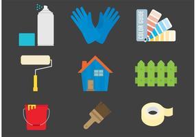 Peinture et icônes vectorielles à la maison vecteur