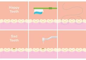 Vecteurs de dents heureux et tristes vecteur