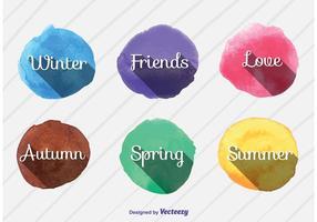 Signes vectoriels d'aquarelle saisonnière