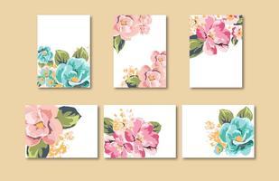 Modèles de cartes de cartes de fleurs vecteur