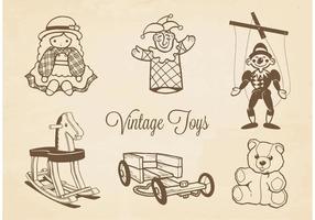 Jouets vintage dessins vectoriels gratuits vecteur
