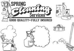 Ensemble vectoriel de service de nettoyage dessiné gratuit