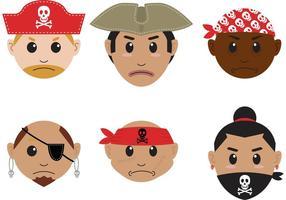 Vecteurs d'icônes de tête de pirate vecteur