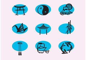 Icônes de ligne chinoise vectorielle