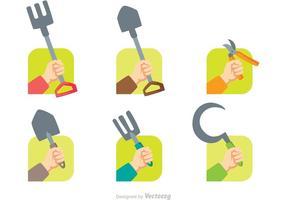 Vecteur des icônes des mains de jardinage