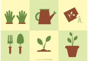 Ensemble de vecteur d'icônes de jardin