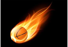 Vecteur libre de basketball sur feu