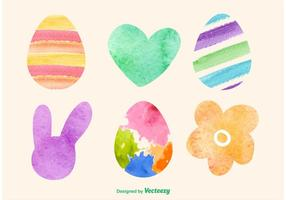 Aquarelle Icônes de vecteur de Pâques