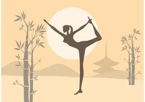 La femme libre pratique le yoga dans un vecteur de jardin zen