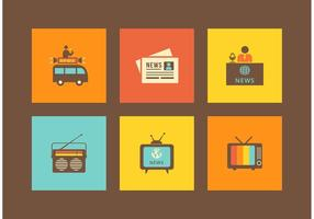 Icônes libres de vecteurs de médias rétro vecteur