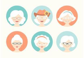 Jeu de vecteur avatar grand-mère gratuit