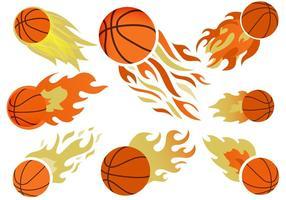 Basketball en feu vecteur gratuit