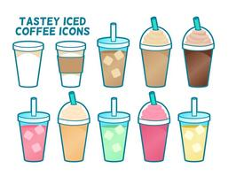 Icônes rendues au café glacé à saveur de goût vecteur