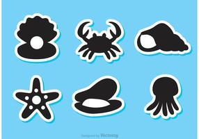 Icônes noires de vecteur Sealife