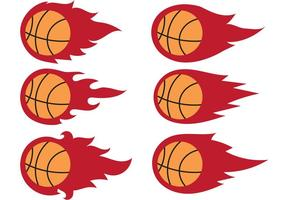 Vecteurs de basketball sur feu