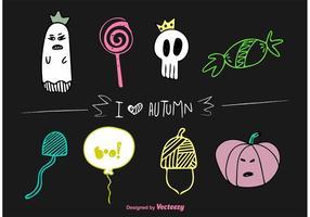Automne Halloween Doodles Vector