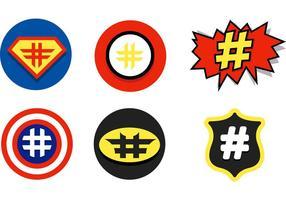 Icônes vectorielles Comic Hashtag
