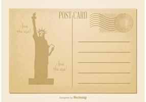 Carte postale vintage de la statue de la liberté vecteur