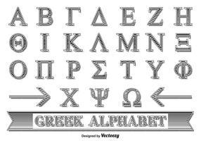 Alphabet grec décoratif vecteur