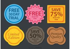Vecteurs de badges promotionnels colorés