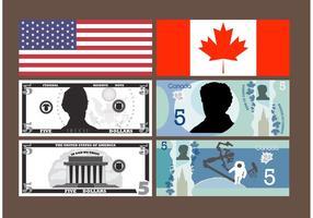 5 vecteurs de billets de dollars vecteur