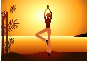 Free Vector Woman Practices Yoga sur le coucher du soleil